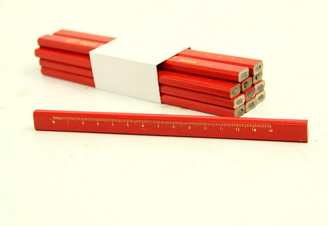 Custom wood flat or rectangular HB carpenter lead pencils